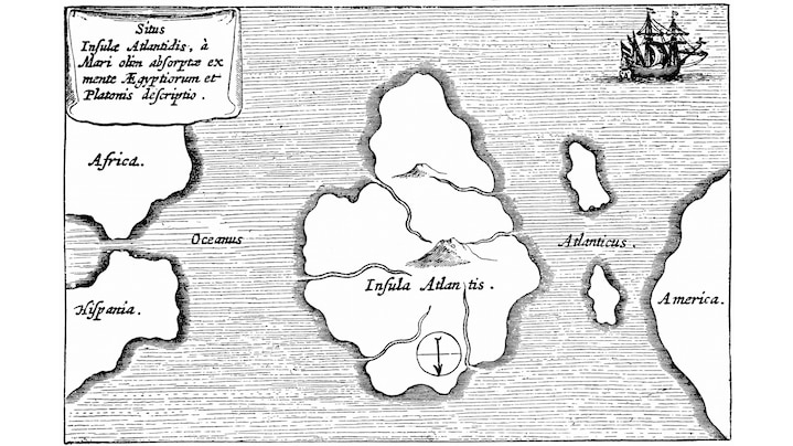 Atlantis – fantasy map from Athanasius Kircher's Mundus Subterraneus, 1665 | In the fourth century B.C., the Greek philosopher Plato had his protagonist Critias report on the island state of Atlantis – a naval power that was supposed to have disappeared in about 9600 B.C. Atlantis was said to be rich in raw materials of all kinds as well as fertile, and according to legend, the biggest and most impressive animals lived there. The golden temple of Poseidon is supposed to have been the cultural center. This is an early story of utopian thinking, which was presented as being in the distant past because there was no imagination of a distant future in which everything might be possible. As people believed that everything was determined by the gods, the future offered little scope for fantasy.  Credit: Photos.com / Thinkstock  Work data: Athanasius Kircher: Map of Atlantis, c.1669