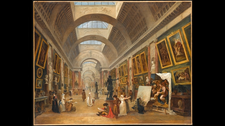 Hubert Robert: La Grande Galerie du Louvre, 1796 | In Hubert Roberts diptych of 1796, La Grande Galerie du Louvre, the flipside of a new understanding of history becomes apparent: decay. In the before-and-after constellation, progress is assessed negatively. A cultural pessimism is revealed which glorifies an earlier condition and fears decline, but at least attempts to endure it with dignity. At the same time, a certain pleasure in anxiety is recognizable, based on a romantic fondness for the esthetics of ruined buildings.  Credit: Jean-Gilles Berizzi / RMN - Grand Palais / bpk  Work Data: Hubert Robert (1733-1808): La Grande Galerie du Louvre 1796, 112 x 143 cm, Öl auf Leinwand, Location: Paris, Musée du Louvre