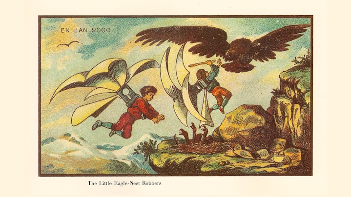 Credit: gemeinfreies Werk via Wikimedia Commons | Werkangaben: Jean-Marc Côté und andere Künstler; 1899-1910; A Nineteenth Century Vision of the Year 2000: The Little Eagle Nest Robbers