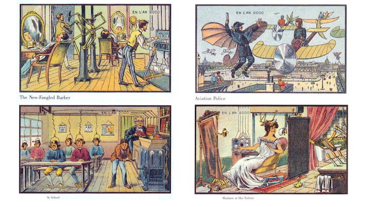 Credit: gemeinfreies Werk via Wikimedia Commons | Werkangaben: Jean-Marc Côté und andere Künstler; 1899-1910; A Nineteenth Century Vision of the Year 2000  1. The New-Fangled Barber; 2. Aviation Police; 3. At School; 4. Madame at Her Toilette
