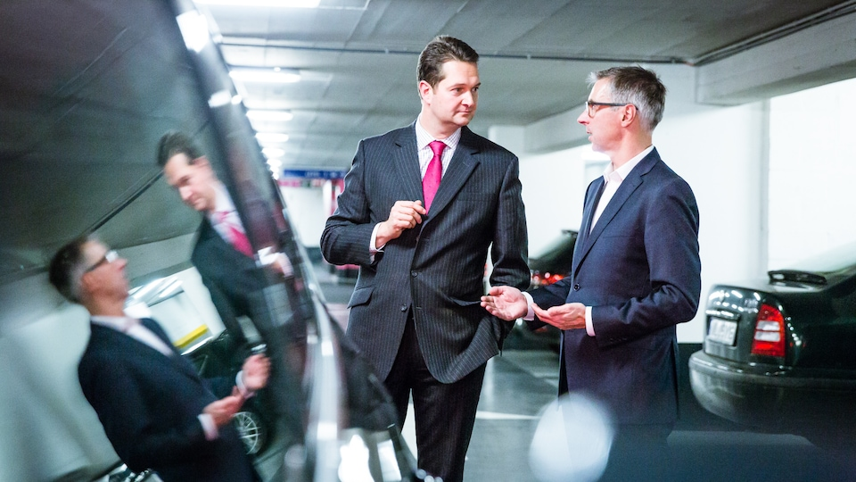 Lukas Neckermann and Dr. Volker Kaese, Audi, at the Audi Stakeholder Forum 2016 in Brussels