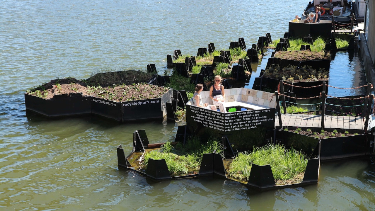 Recreational areas made from recycled plastic