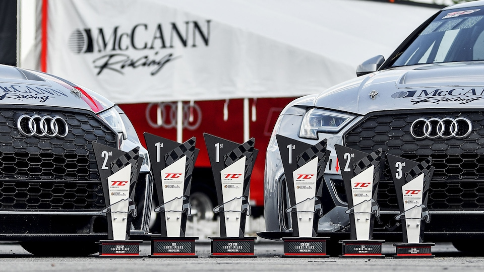 Audi RS 3 LMS with trophies