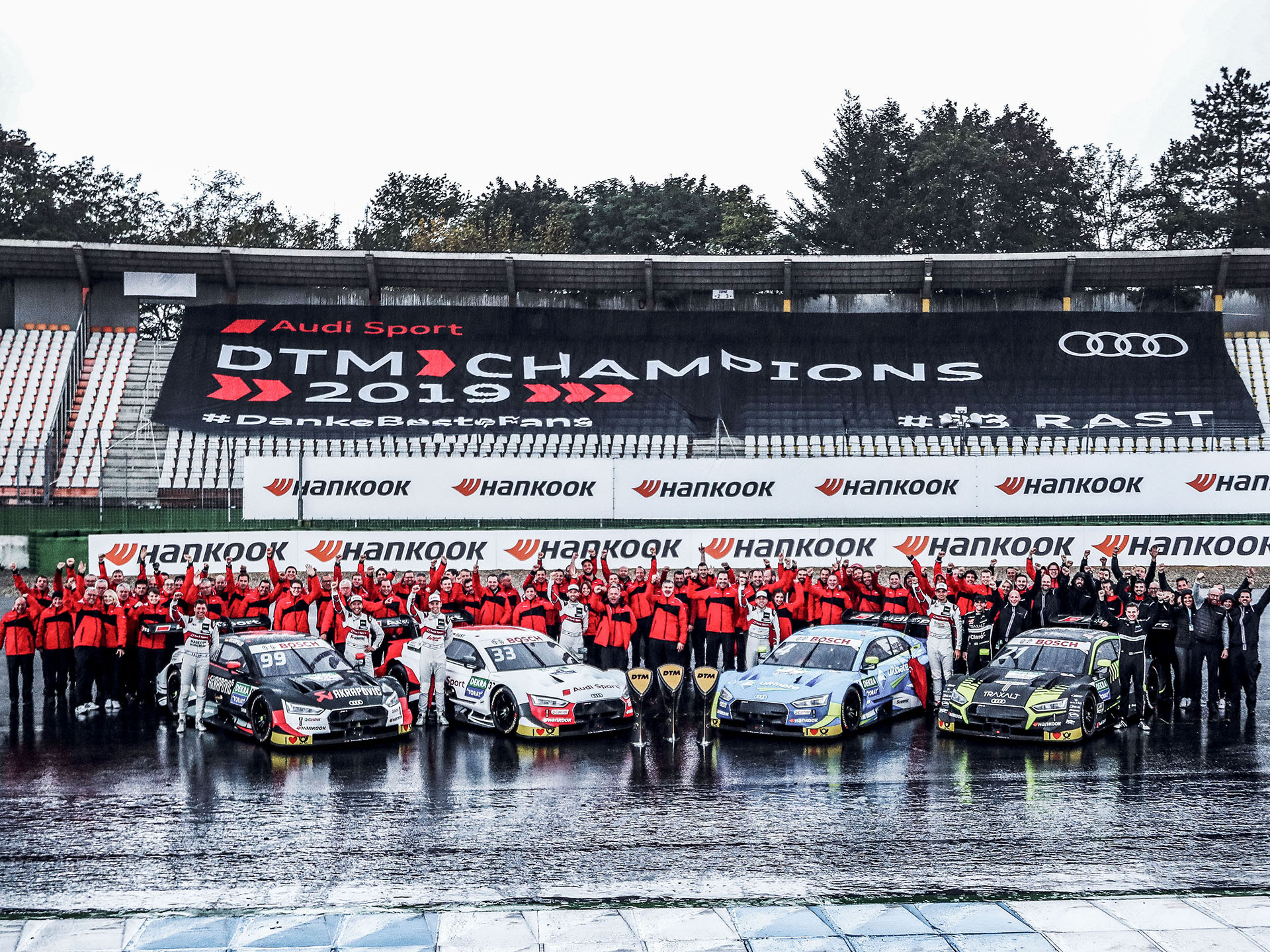 Audi team and four Audi RS 5 DTM cars