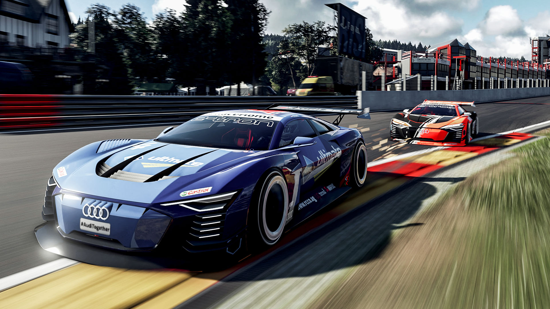 Audi e-tron Vision Gran Turismo on the racetrack