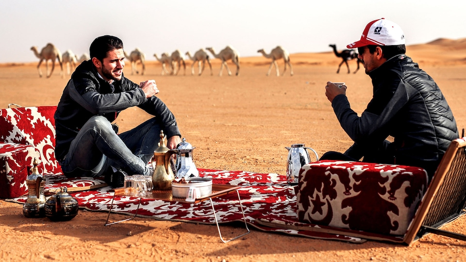 Daniel Abt and Lucas di Grassi in the desert