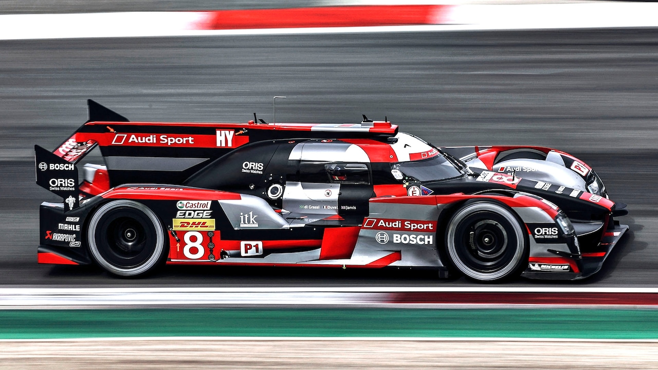 The Audi R18 sports prototype in the 2016 FIA World Endurance Championship