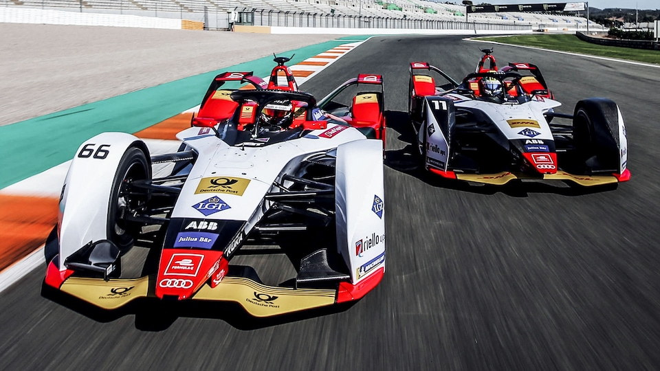 Audi e-tron FE05 on the racetrack