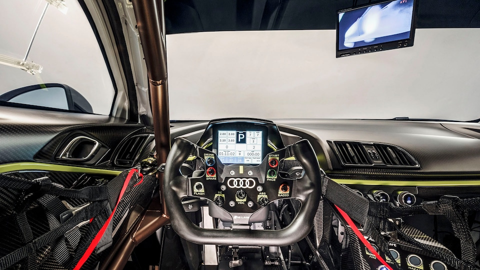 The cockpit of the Audi R8 LMS GT2