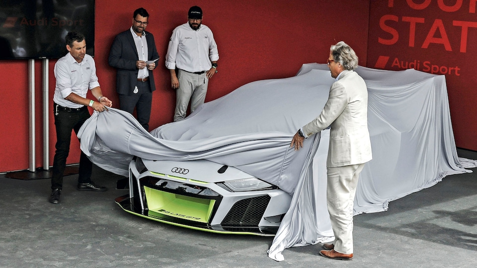 The Audi R8 LMS GT2 being unveiled