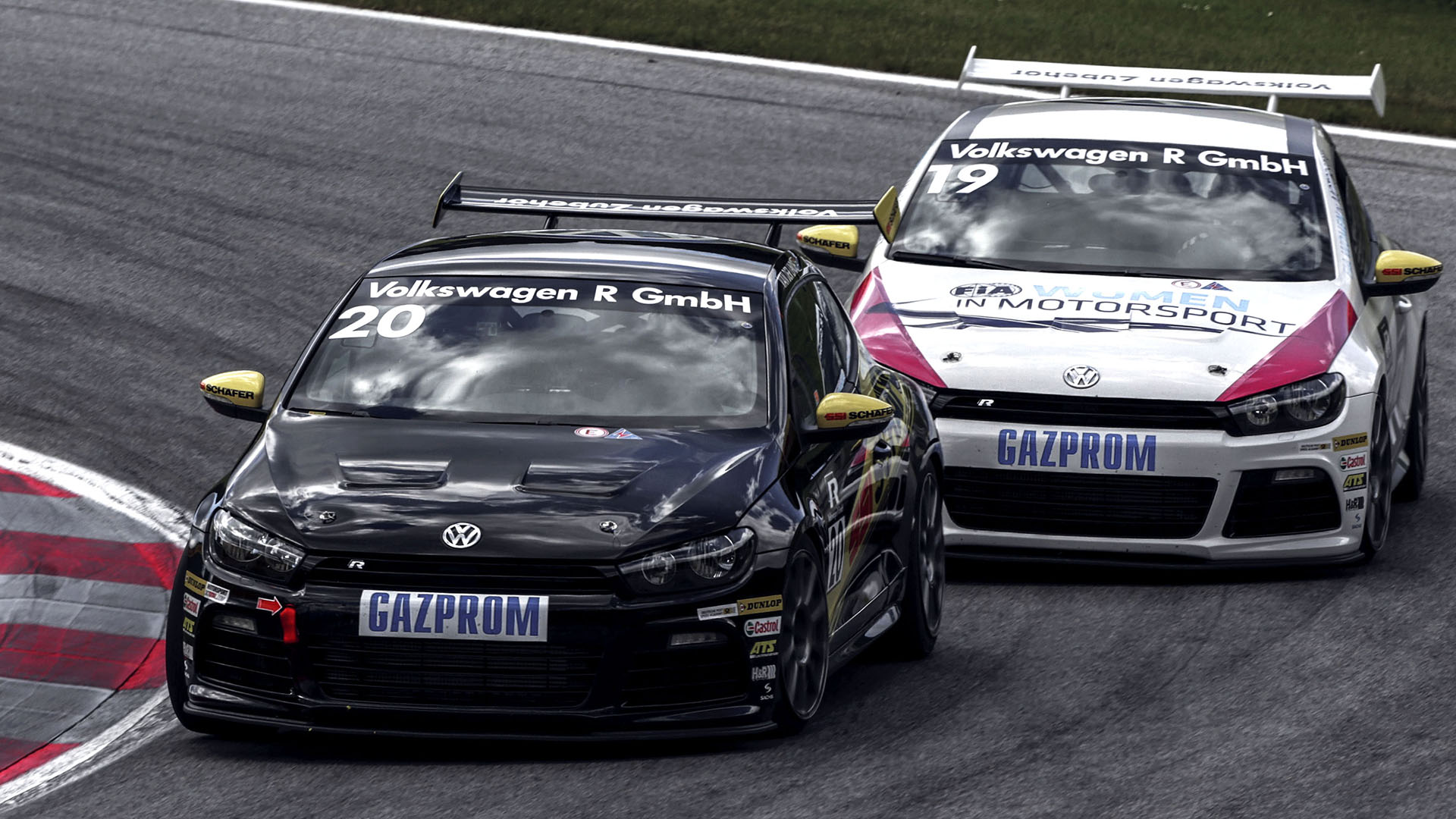 Volkswagen Golf on racetrack