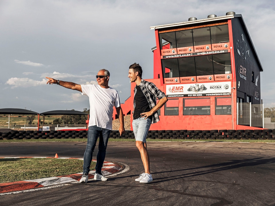 Kelvin and Shaun van der Linde on racetrack