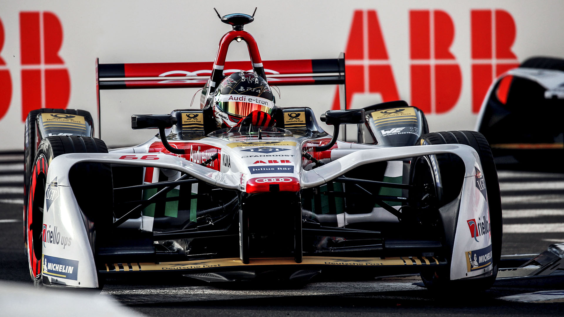 Audi e-tron FE04 on the racetrack
