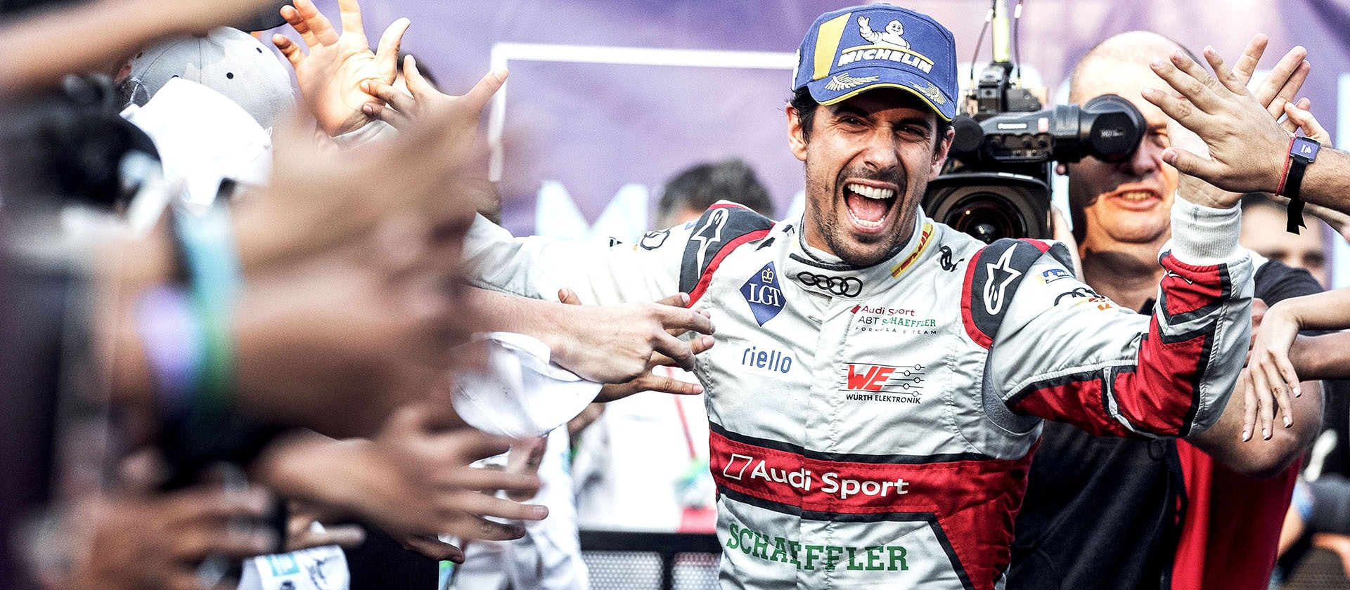 Lucas di Grassi on the podium