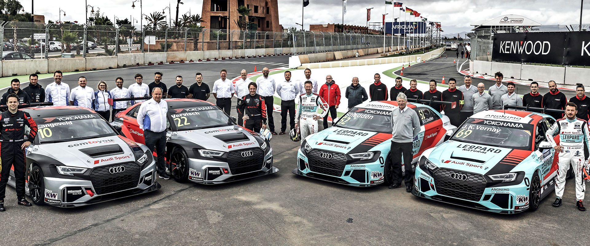 Four Audi RS 3 LMS cars and their teams