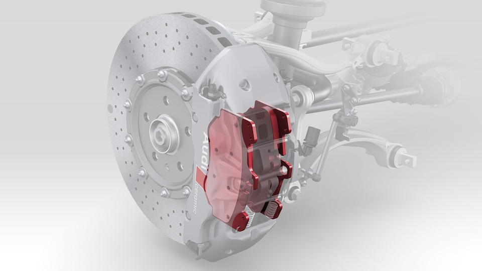 Note: Steel and ceramic brakes are not included in the Audi Sport performance parts range. These refer exclusively to the brake pads shown, which are available for both versions.