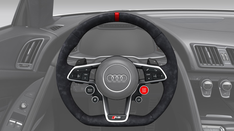 Audi Sport steering wheel in Alcantara, black with red 12 o'clock marking