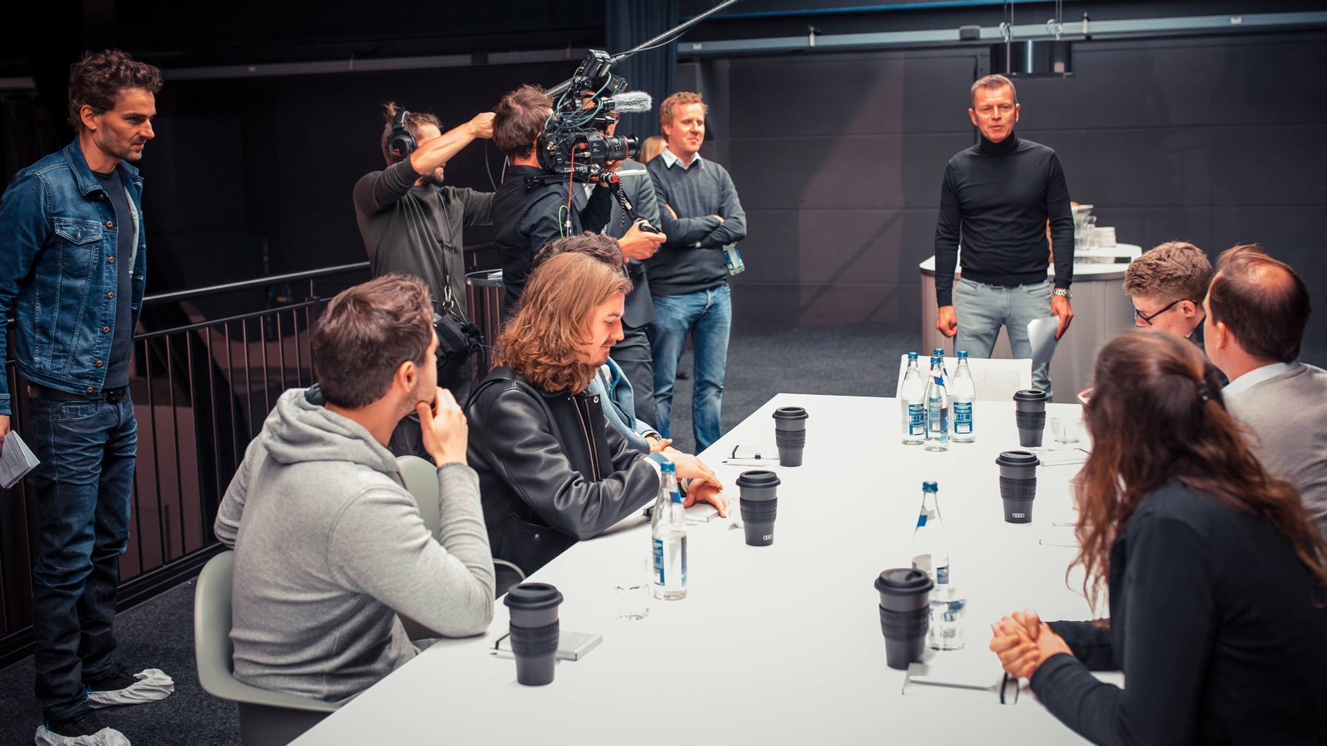 Audi A6 Film Contest — participants and experts enjoy a coffee together