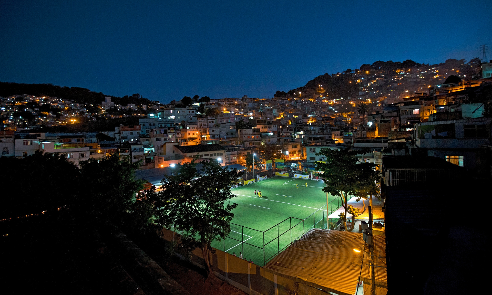 Soccer pitch in the favelas of Rio