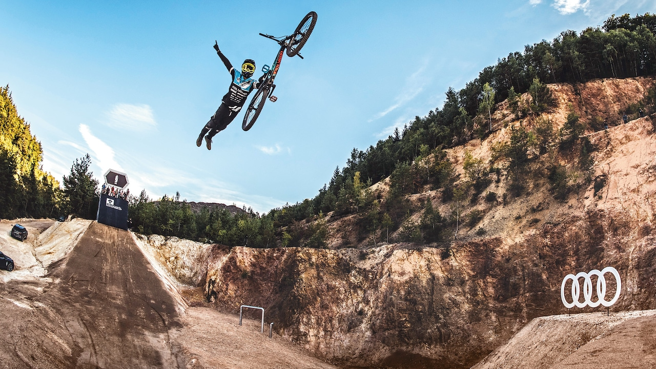 "Free as a bird: Tricks like this ""one-handed Superman seat grab"" have made Sam Reynolds a global icon. He loves the feeling of freedom that mountain biking gives him."