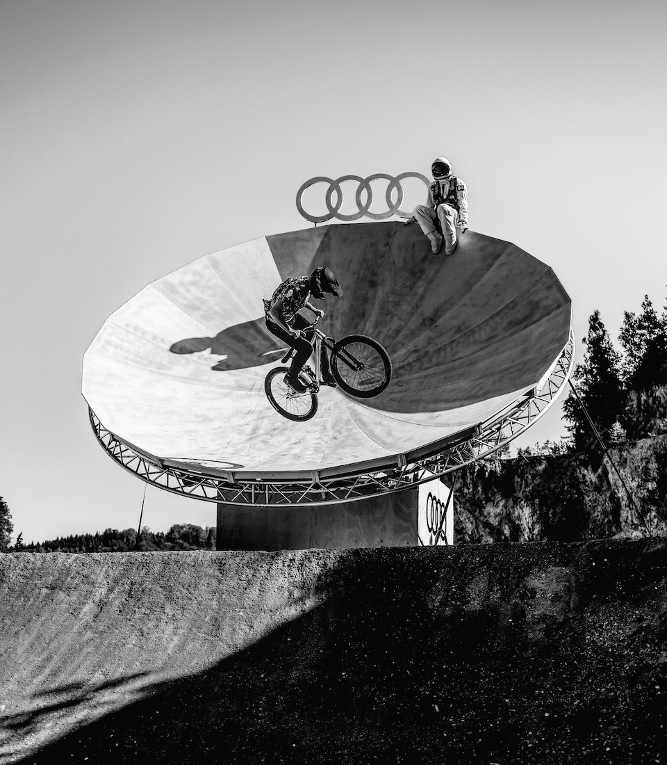 "One giant leap: Sam Reynolds and the Audi Nines always let their imaginations run wild. This event was bannered ""Send it to the Moon!"" From an astronaut in a spacesuit to a satellite dish as an obstacle, the trail had it all."