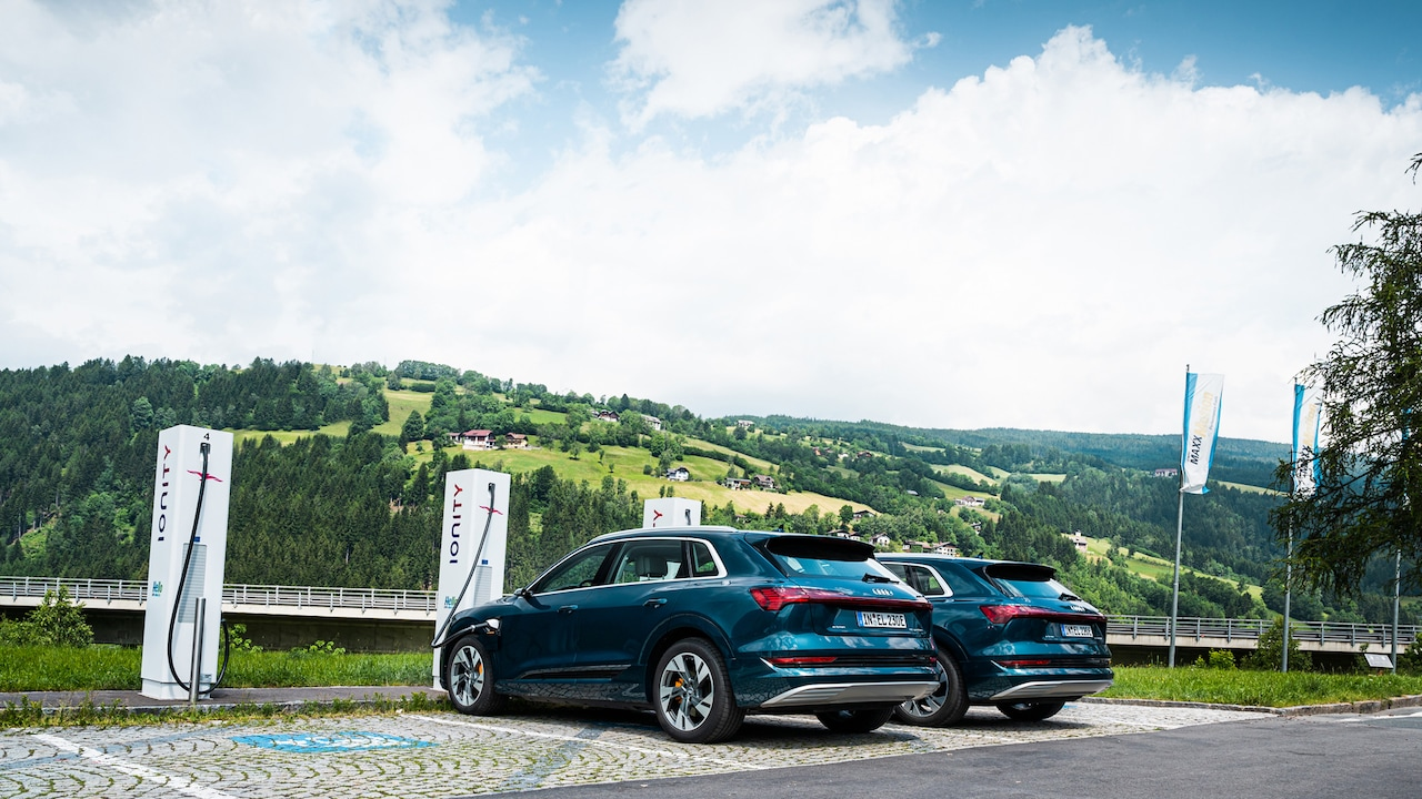 Two Audi e-tron at IONITY charging stations