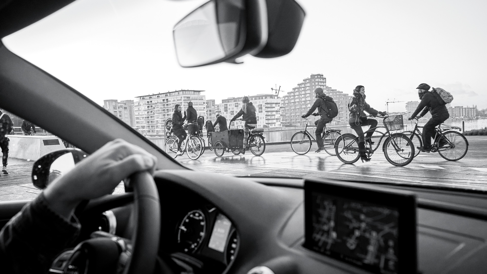 Cyclists from the view in the car