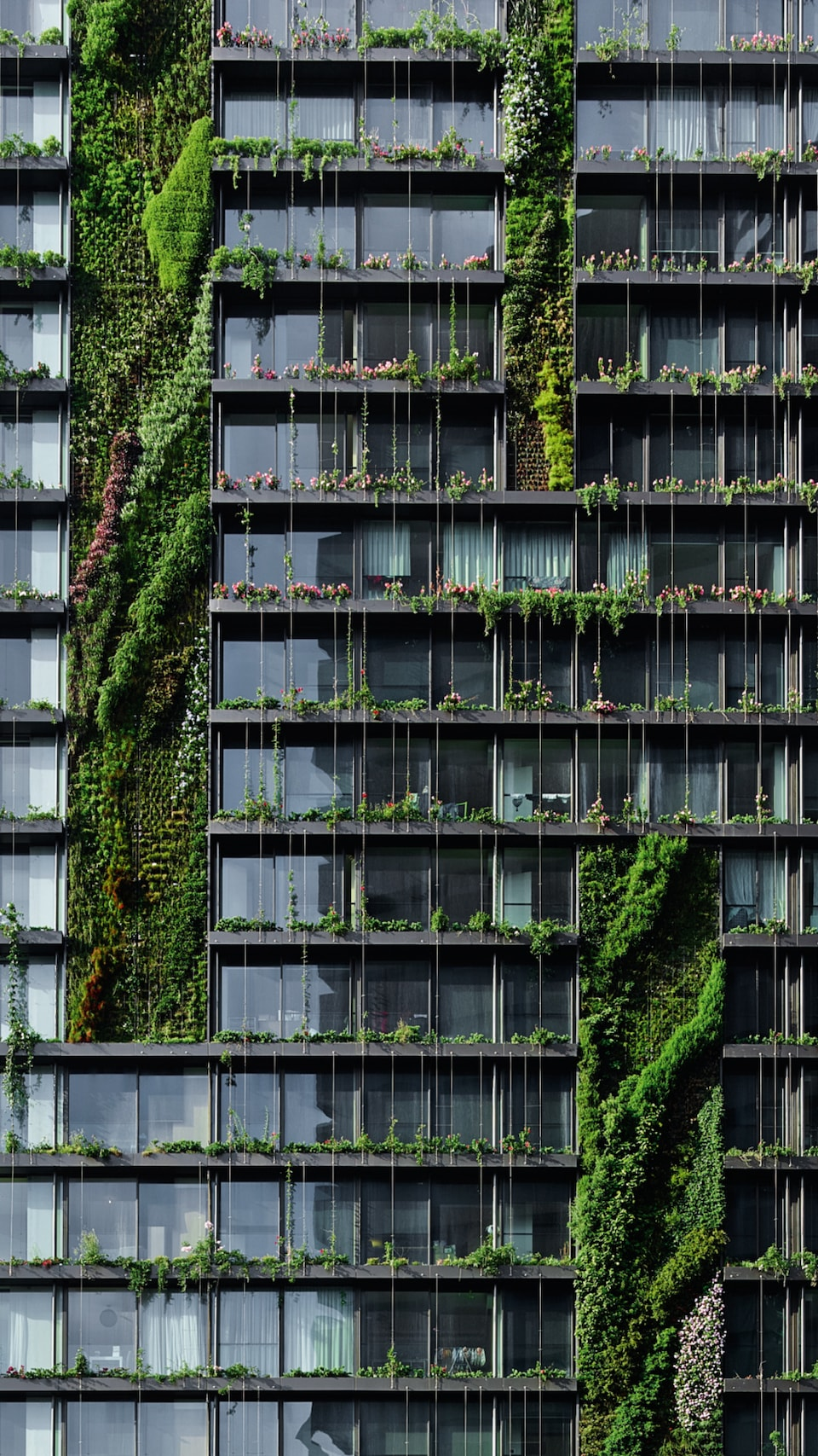 The One Central Park project in Sydney is a paradigm for green buildings. In total, more than 85,000 plants cover the 23 green cloaks of vegetation that stretch up to 50 meters high on the façade.