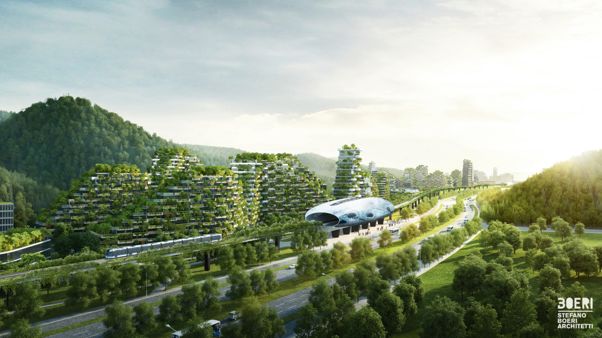 With Liuzhou Forest City in China, architect Stefano Boeri is going a significant step further than vertical gardens. Here, an all-green city aims to accommodate a total of 30,000 inhabitants and eliminate 10,000 tons of CO₂ annually.