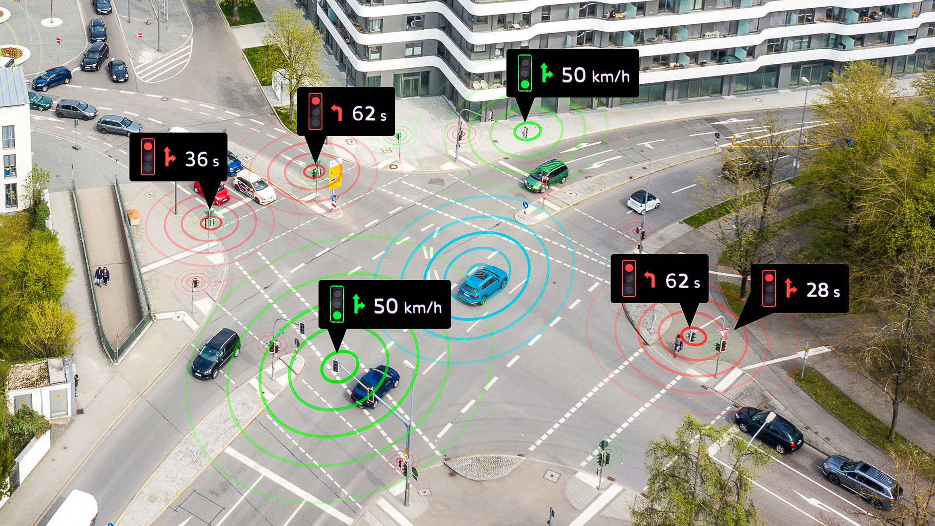 Smart city Ingolstadt: intelligent traffic management helps the driver to get through traffic as efficiently as possible.