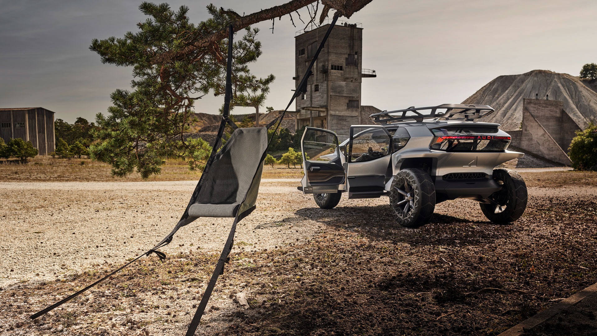 A hanging chair from the 2019 concept car Audi AI:TRAIL